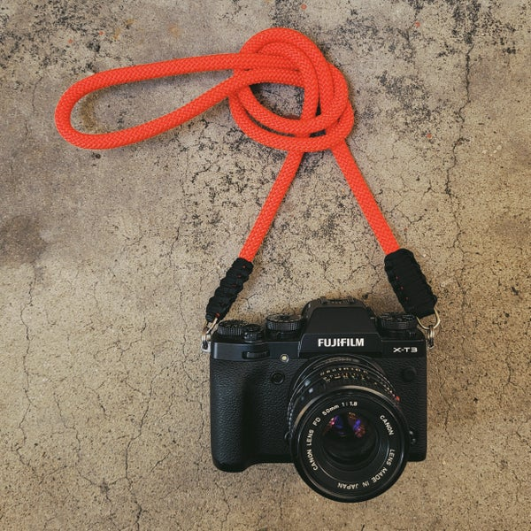 Image of Red rope shoulder strap w/ split ring attachments