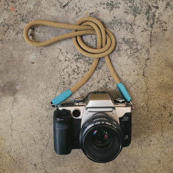 Image of Coyote brown rope shoulder strap w/ split ring attachments