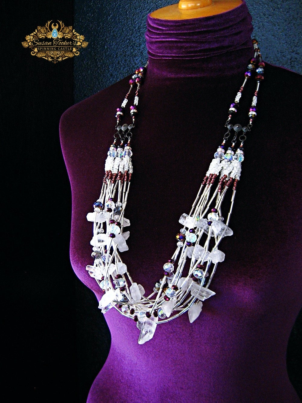 Image of SELENE - Clear Quartz Crystal Bib Statement Necklace Greek Goddess Collection