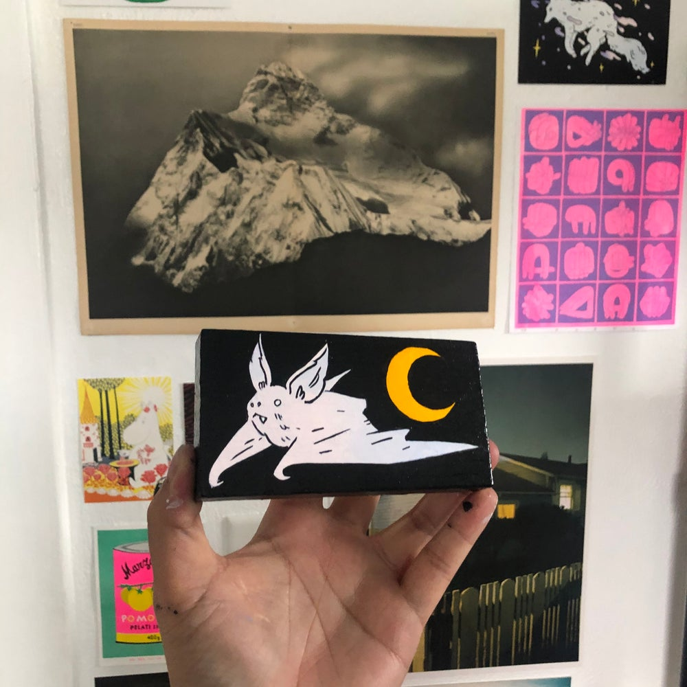 Image of Bat with Crescent Moon Painting