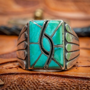 Image of Zuni Sterling Silver Ring Chanel Inlay with Turquoise Hummingbird Design Mens Size 11