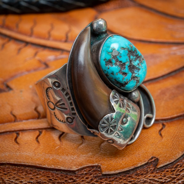 Image of Native American Bear Claw and Turquoise Sterling Silver Ring Size Nine Three Quarters