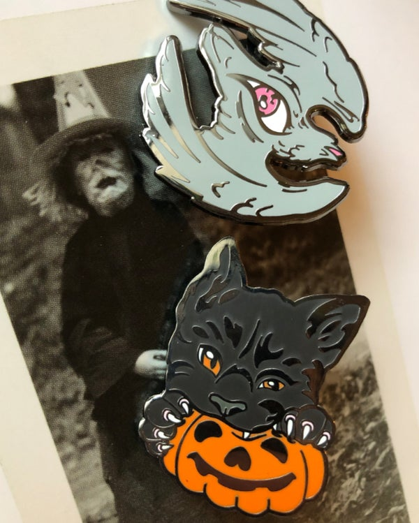 Image of Enamel pins - Black Cat and All-Seeing Bird