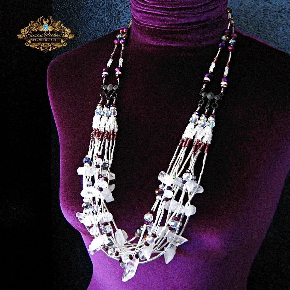 Image of SELENE - Clear Quartz Crystal Bib Statement Necklace Greek Goddess Collection