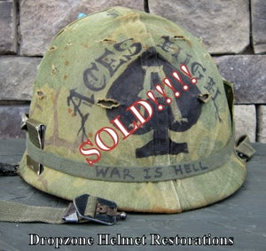 "Image of WWII Schlueter M-1 Helmet & Westinghouse  liner Mitchell Camo Cover ""ACES HIGH""."