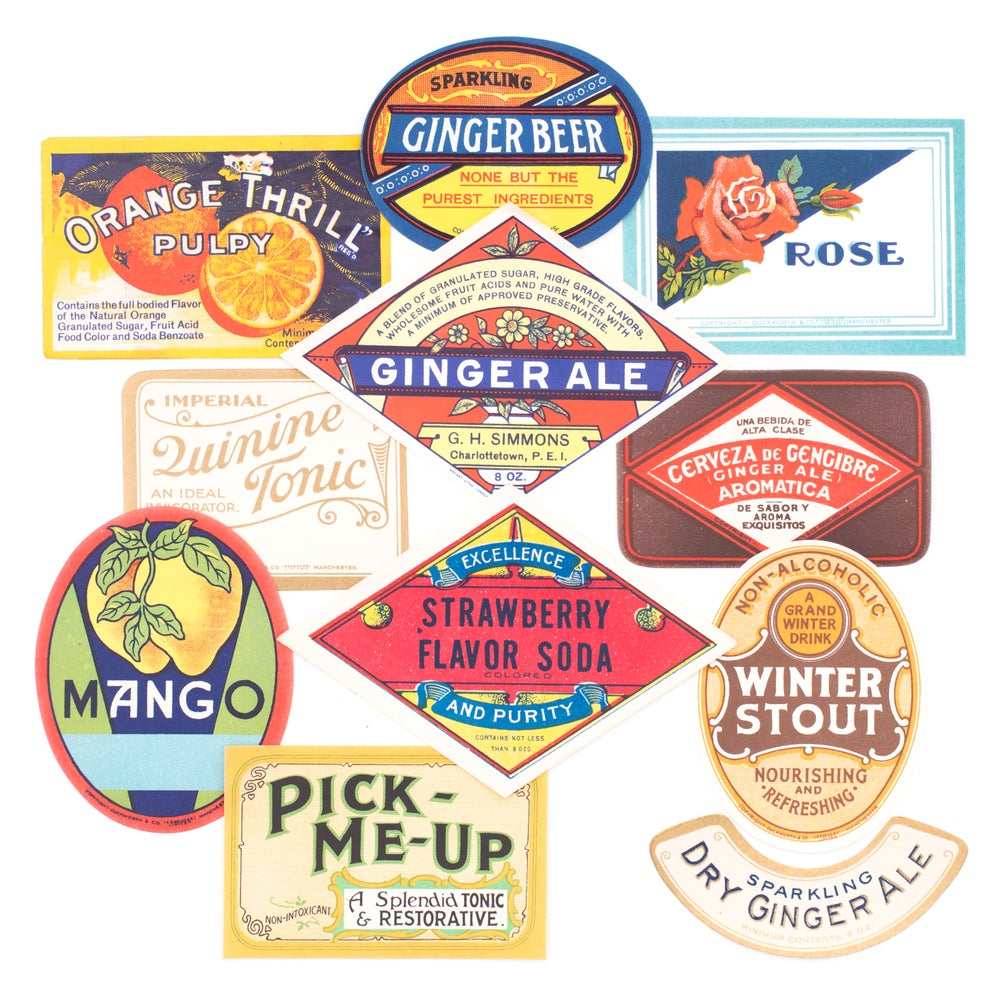 Image of Antique Beverage Labels - Set No. 3