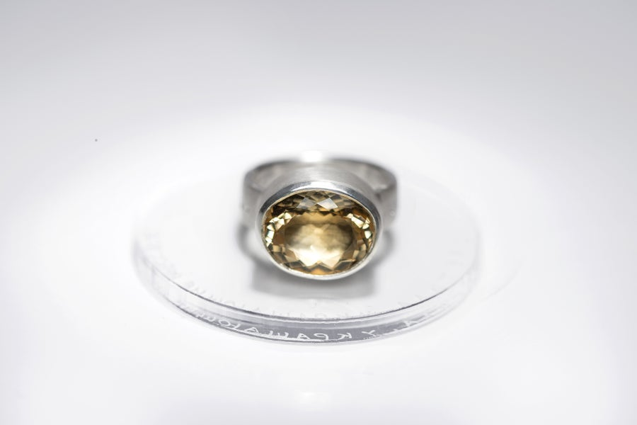 "Image of ""Stars are brightening..."" silver ring with citrine · SIDERA CAELUM LAQUEANTIA ·"
