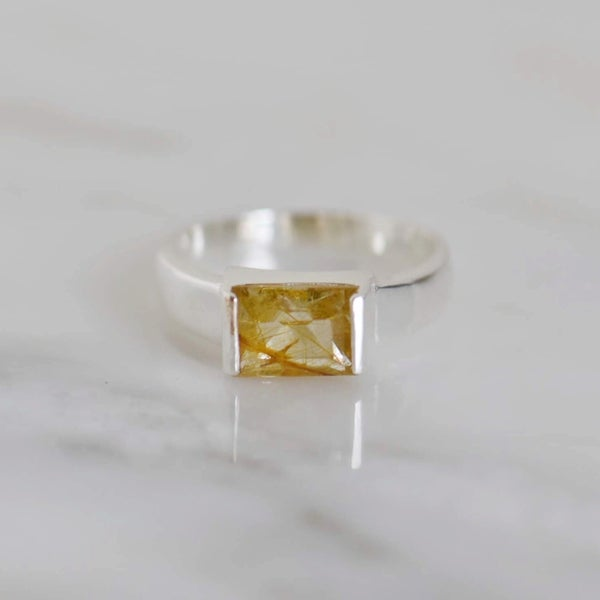 Image of Golden Rutilated Quartz rectangular cut silver flat wide band ring