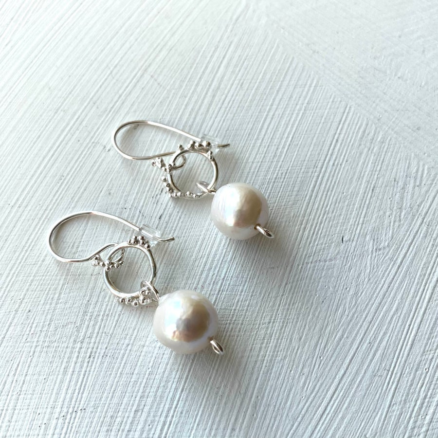 Image of Plethora hook earrings-Baroque pearl #1