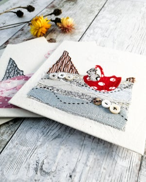 Image of Printed Cards from my Embroidery - Bunny at Sea