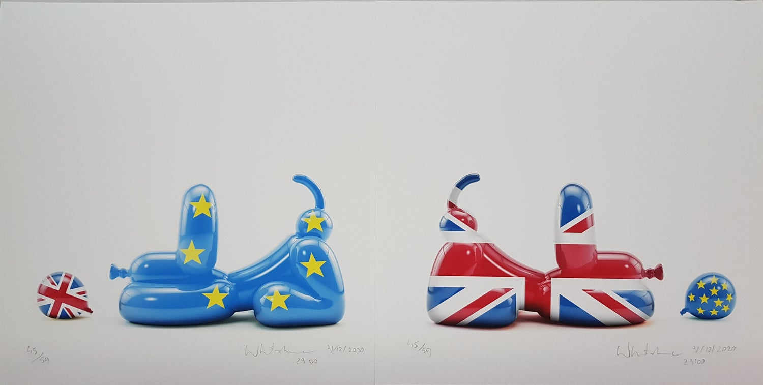 Image of BREXIT HAPPY POPEK - SET OF 2 - LIMITED EDITION PRINT 78 - 35CM X 35CM