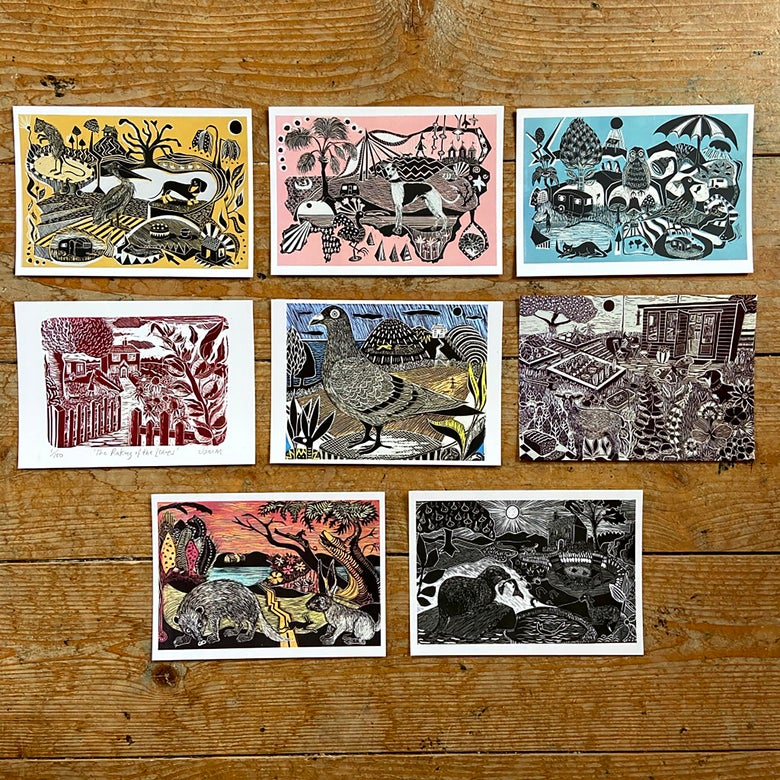 Image of OFFER - Set of all 8 A6 postcards ( traditional size)