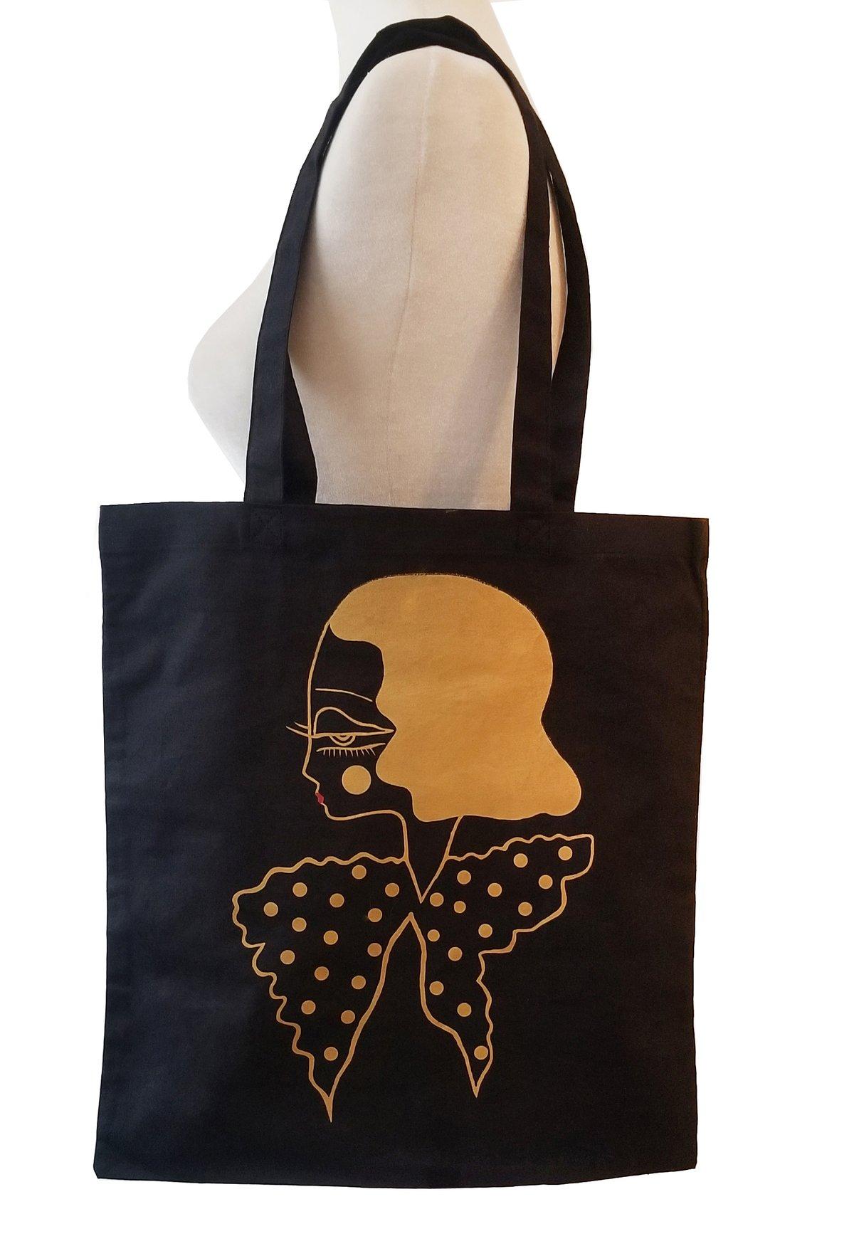 Image of Diedra-Dot Canvas Black Bag