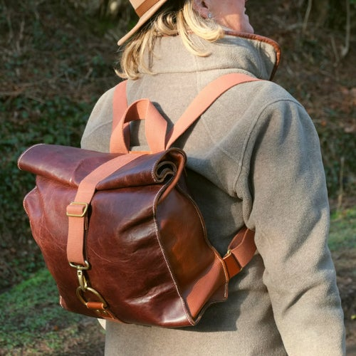 Image of Hand Stitched Leather Backpack