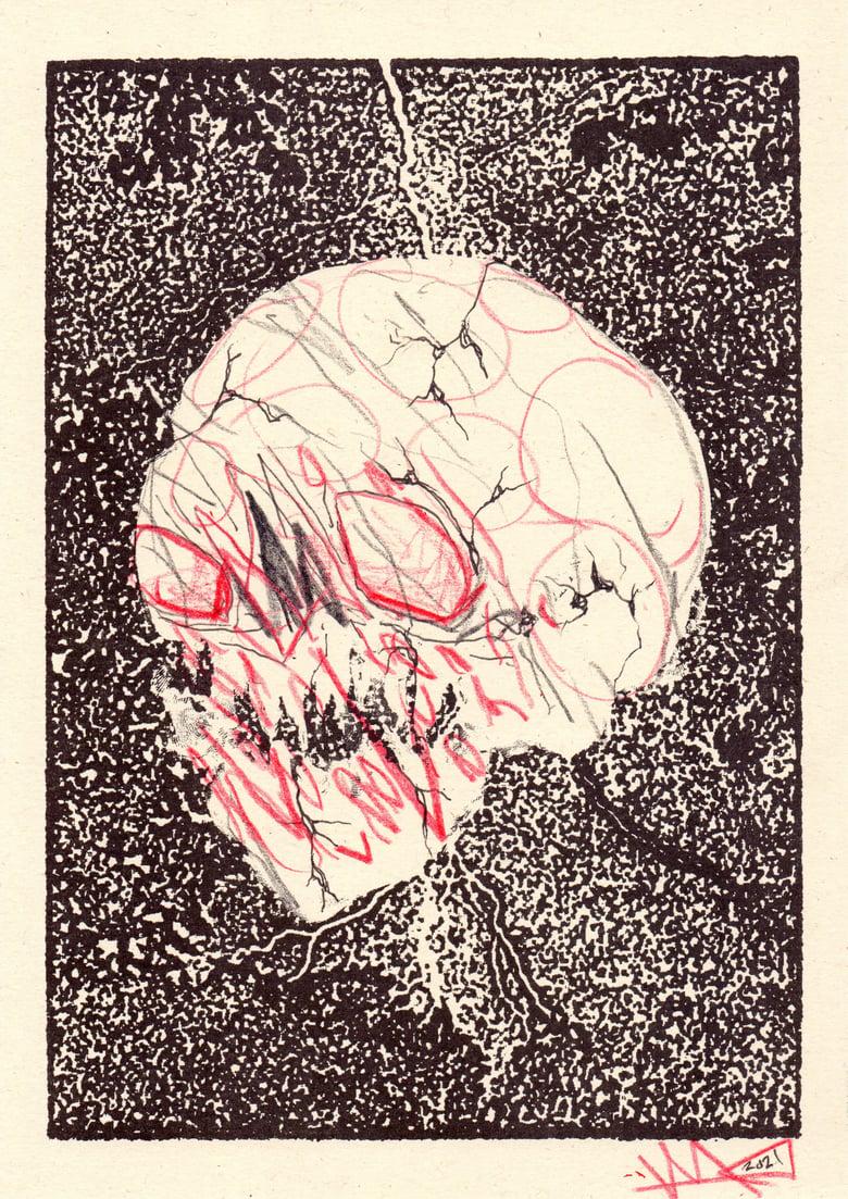 Image of Custom Skulls — A4 sketch / Risograph print