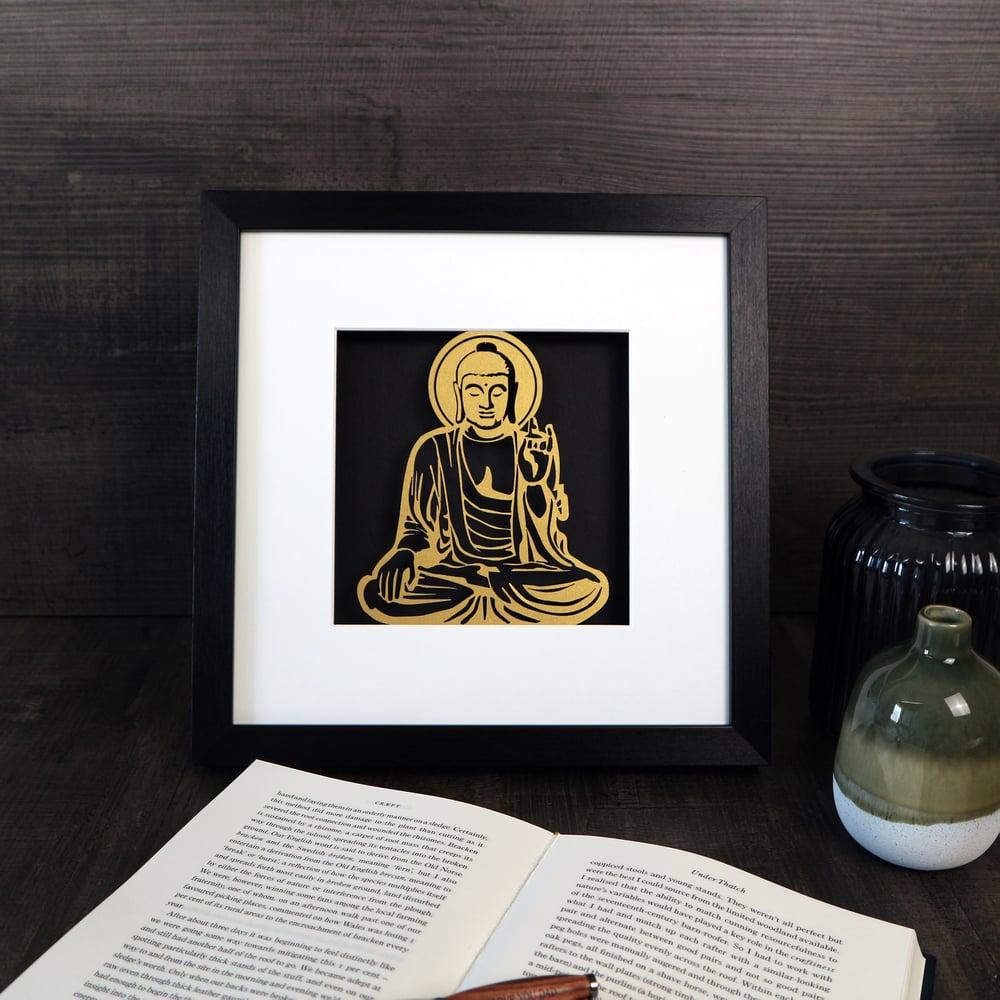 Image of Gold Buddha Papercut Artwork