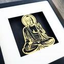 Gold Buddha Papercut Artwork
