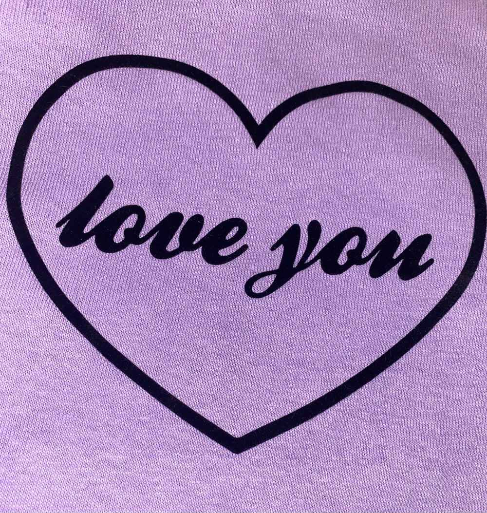 Image of NEW Love You Tee Lilac with Black flock