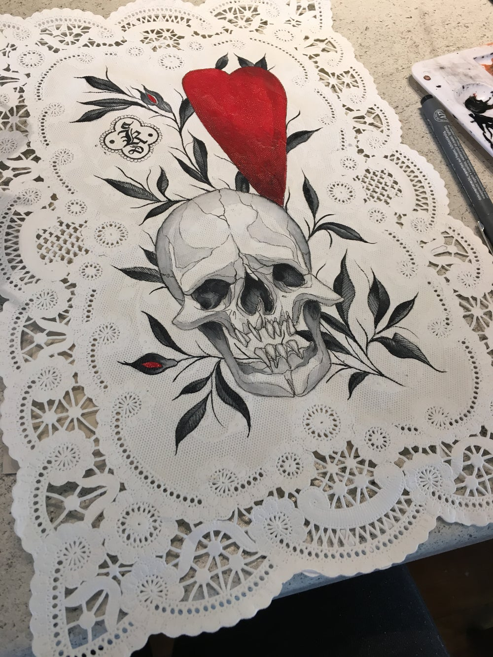 Skull and Heart Vintage Doily Painting