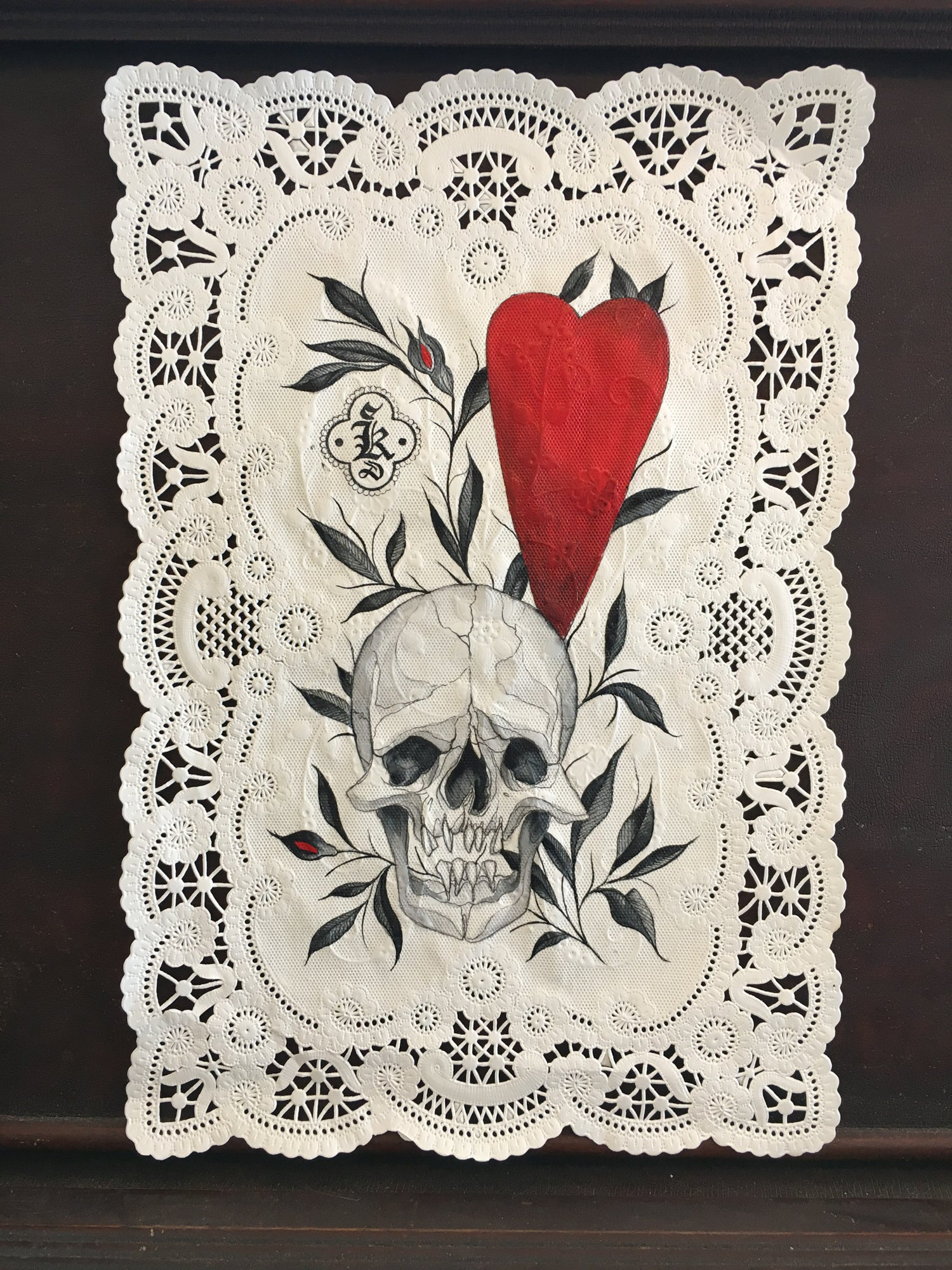 Image of Skull and Heart Vintage Doily Painting