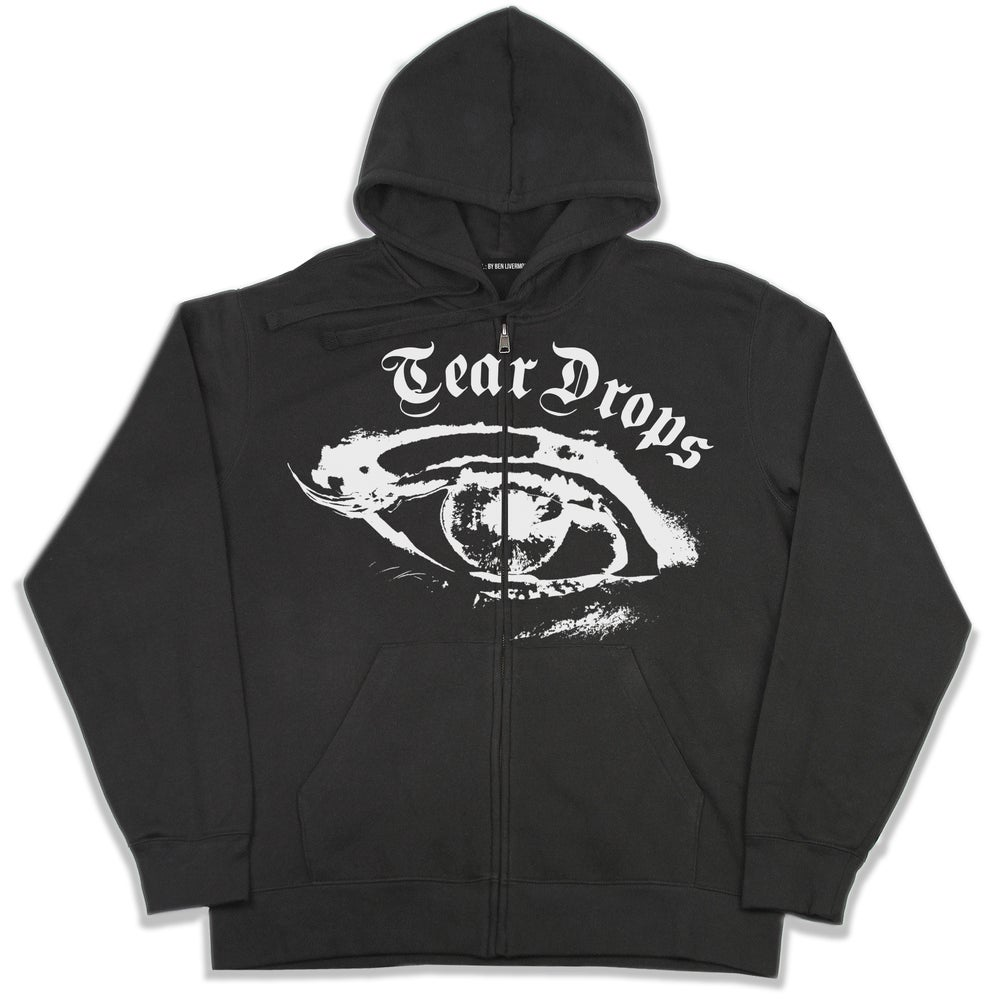 Image of Tear Drops Zip Up Hoodie (Black)