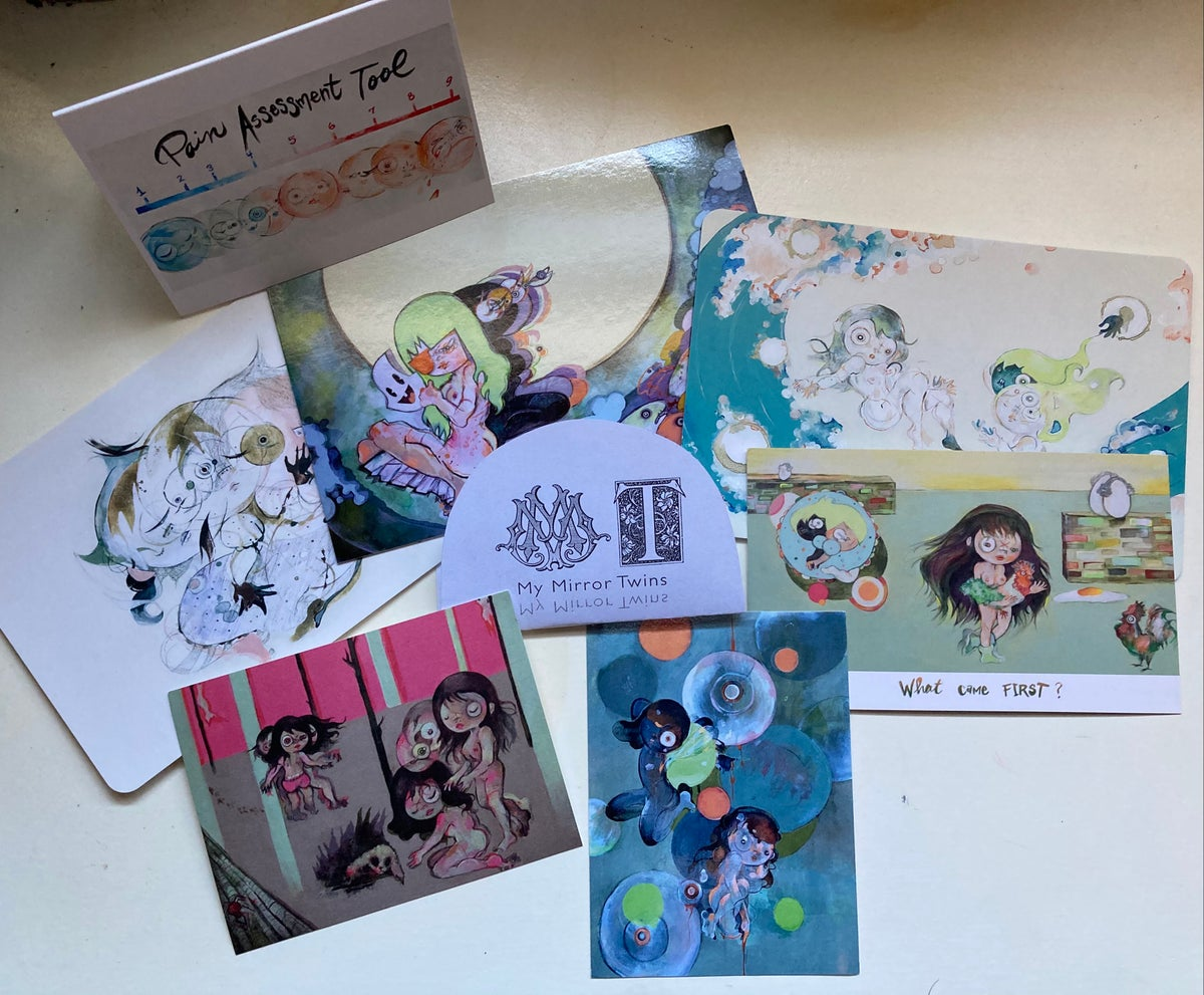 Image of Paulos' Mirror Twin Postcards set with stickers