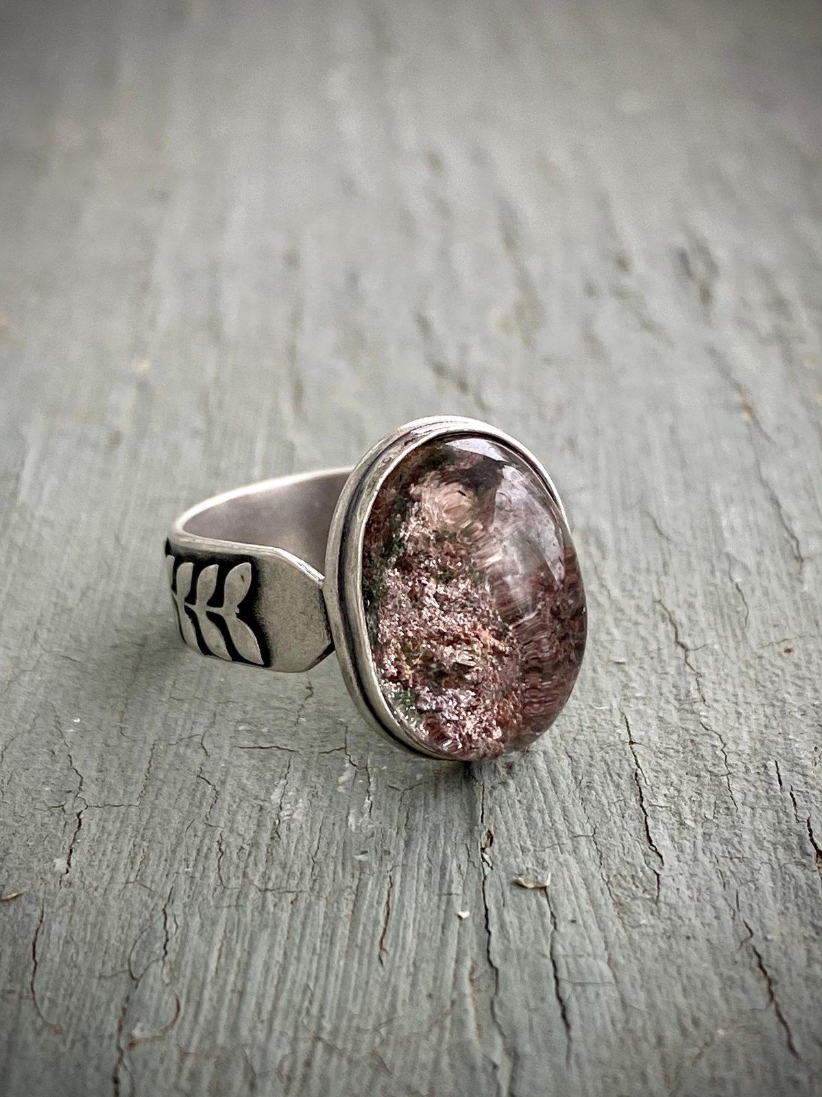 Lodolite Ring Garden Quartz Ring Red Quartz Ring Strawberry Quartz Sterling Silver Ring