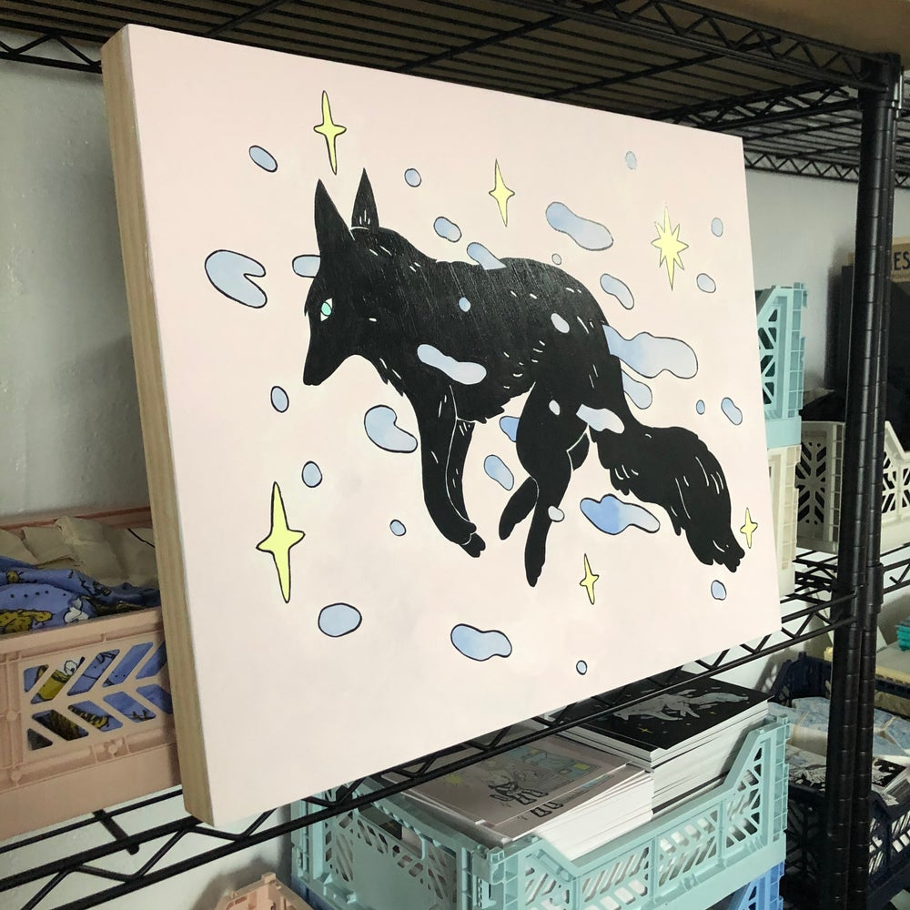 Image of Black Wolf Floating Painting