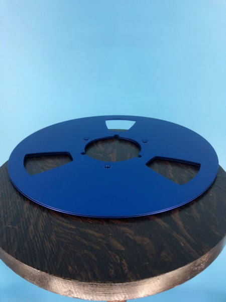 "Image of Burlington Recording 10.5"" BLUE Aluminum NAB Metal Flanges with 1/2"" Hardware"