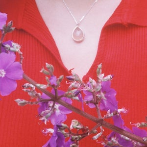 Image of Pink Chalcedony cabochon water drop shape silver necklace