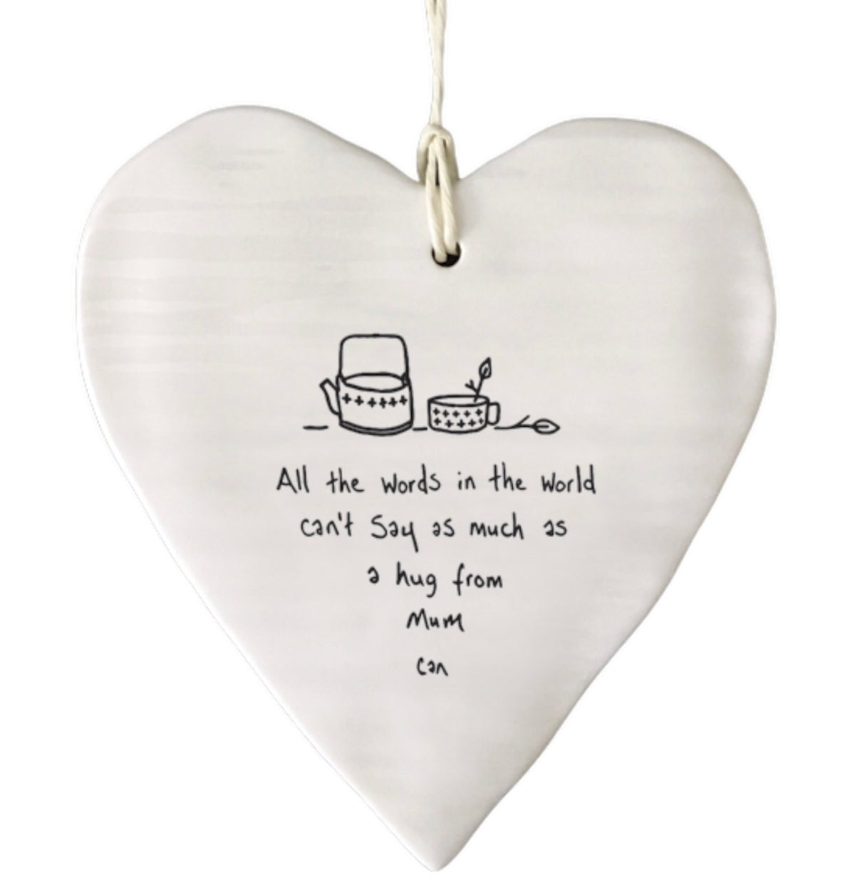 Image of East of India Porcelain Heart A Hug From Mum