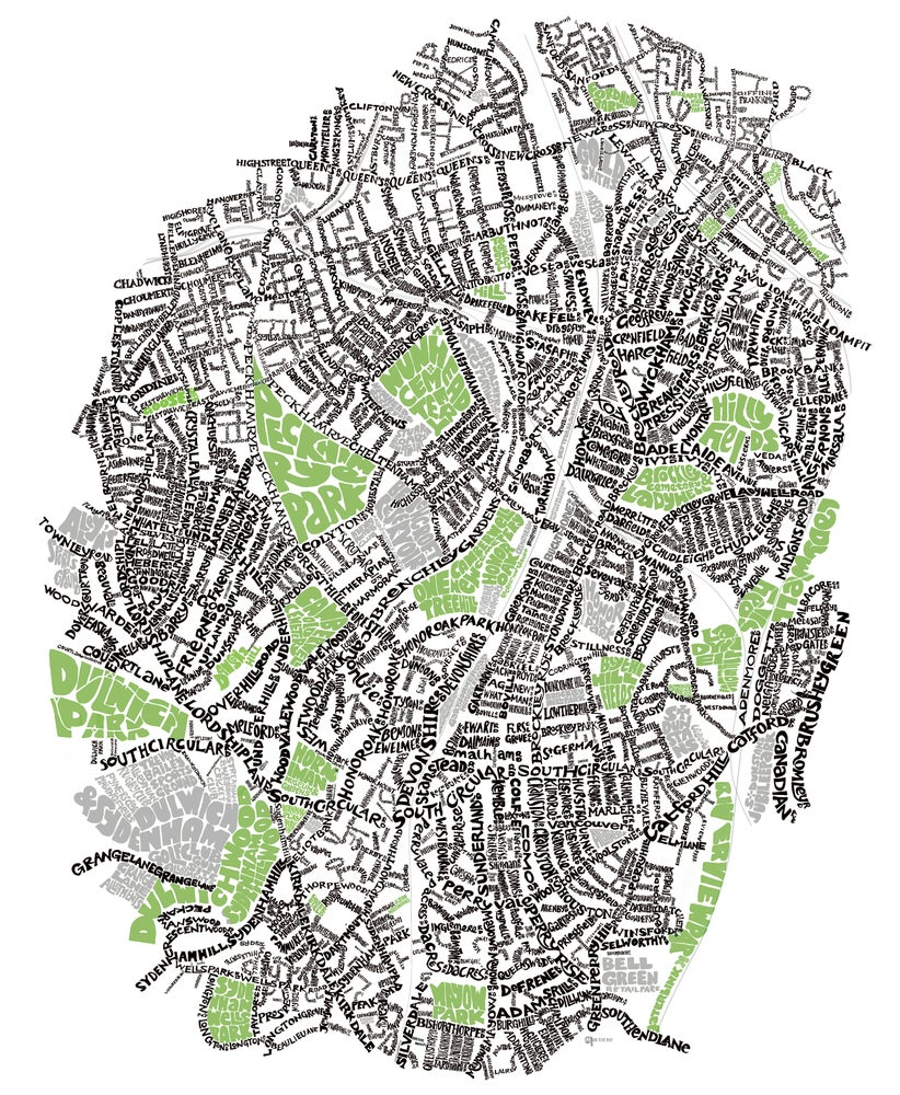 Image of SE London Parks – Brockley - Nunhead - Forest Hill - Dulwich - Sydenham - Type Map