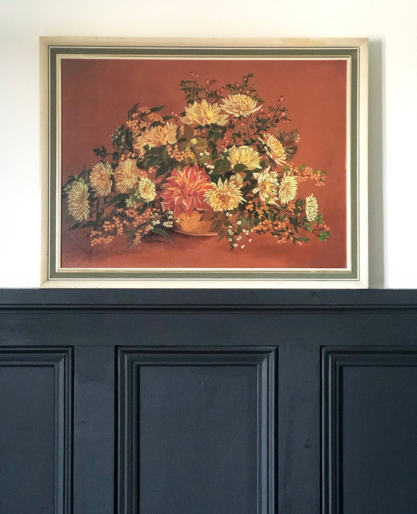 Image of Oil on board autumn florals