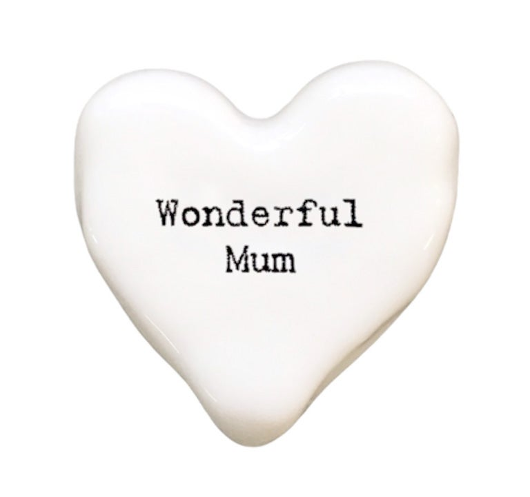Image of East of India Porcelain Heart Token - Wonderful Mum