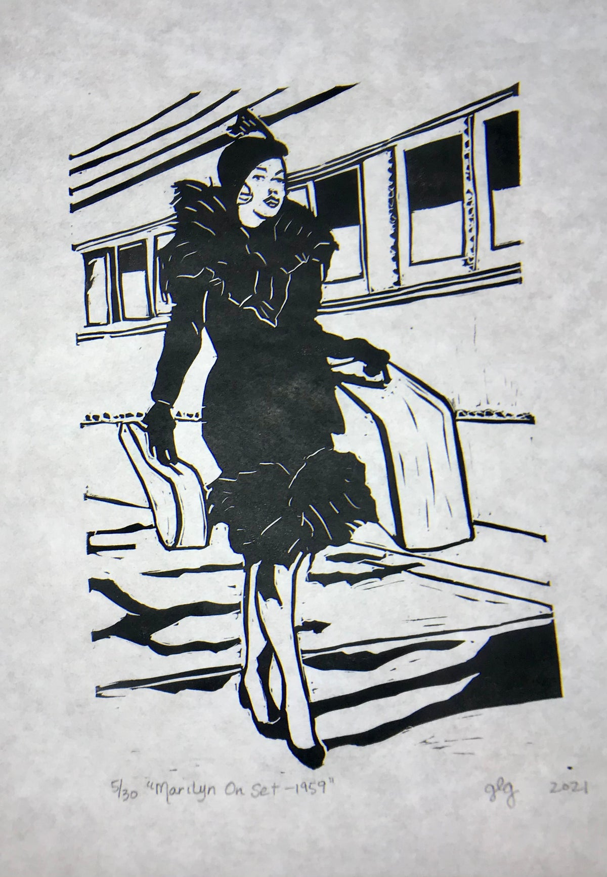 "Image of ""Marilyn On Set"" Limited Edition 9 x 12 Lino Print"