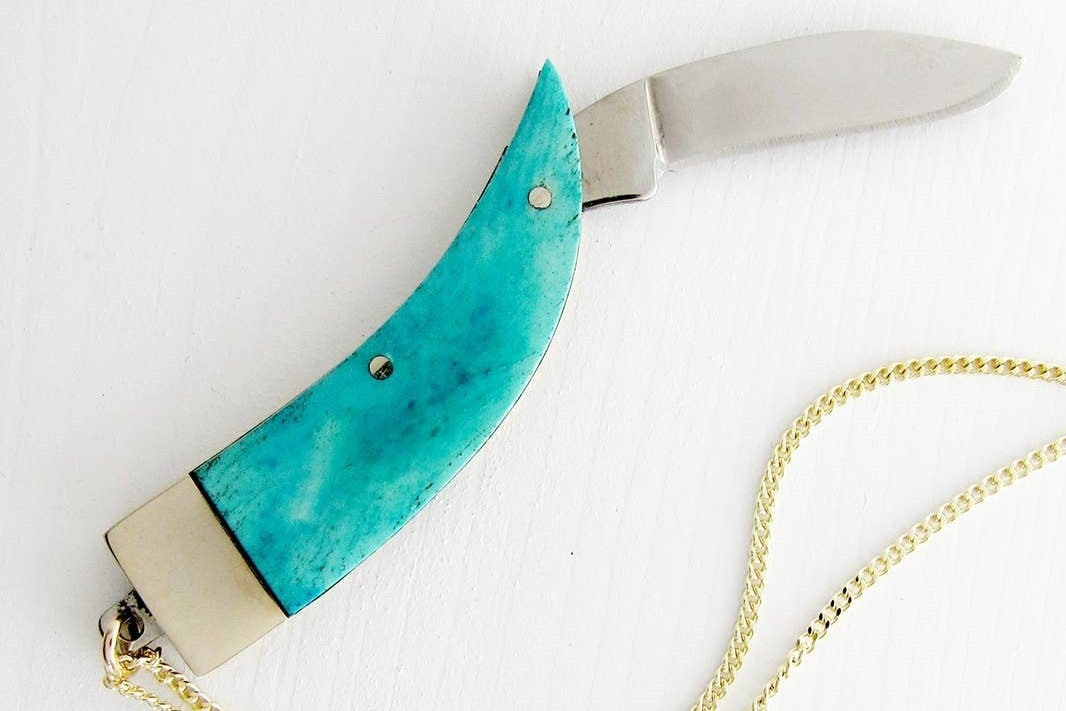 Image of Blue Claw Knife Necklace