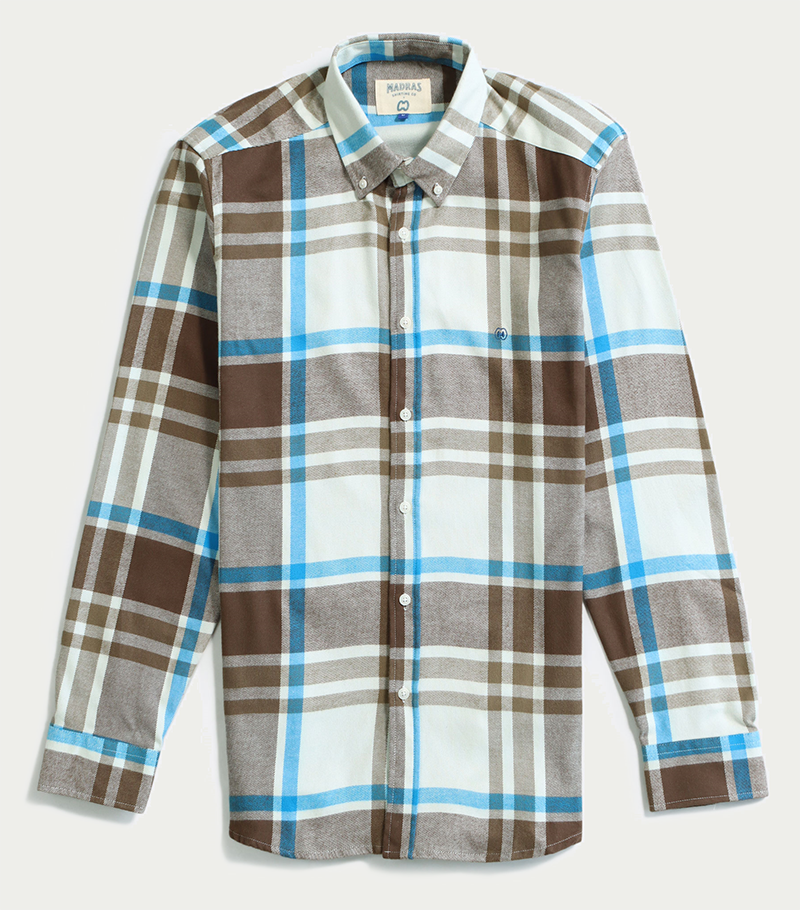 Image of CC x MADRAS SHIRT Co. [BEIGE/BLUE]