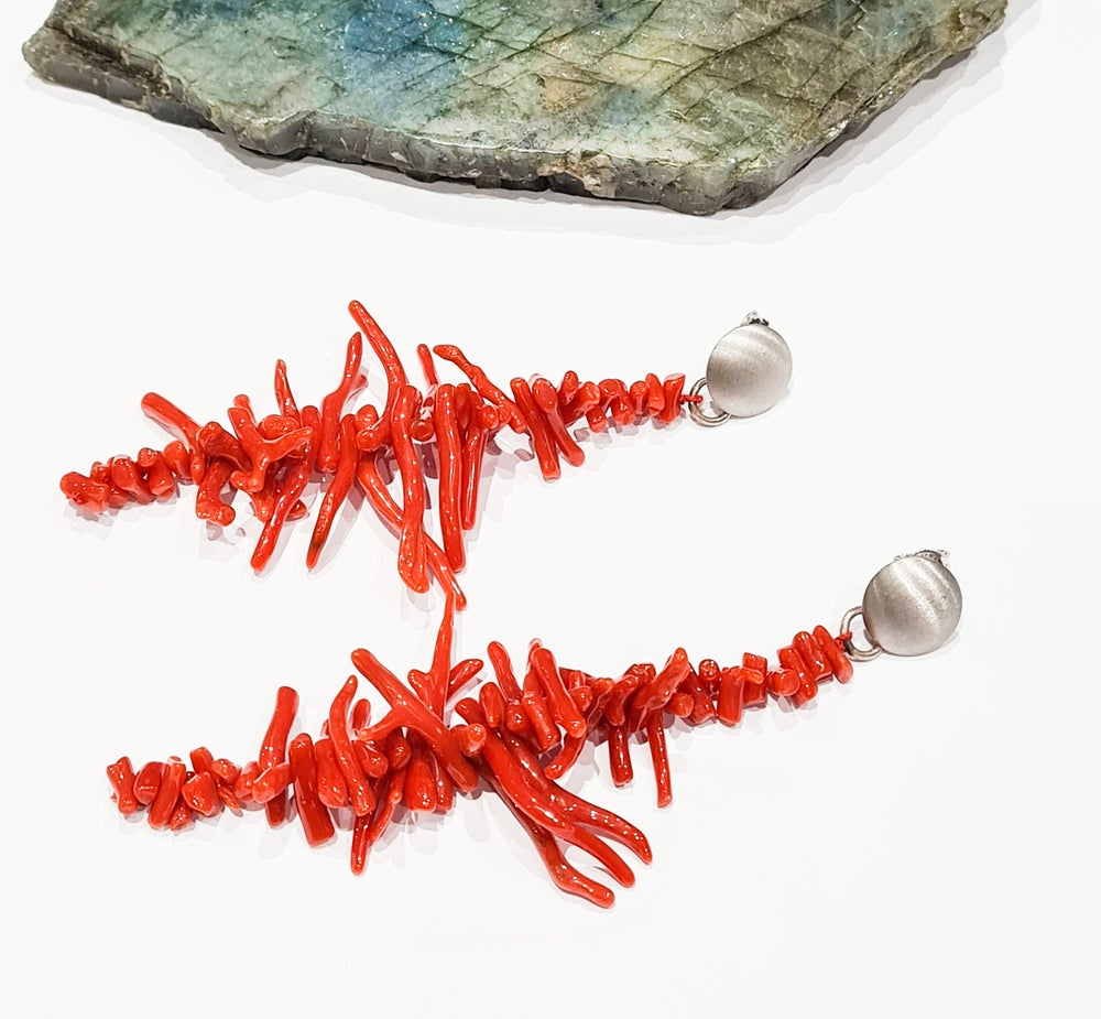 Image of Long Spikey Coral Earrings