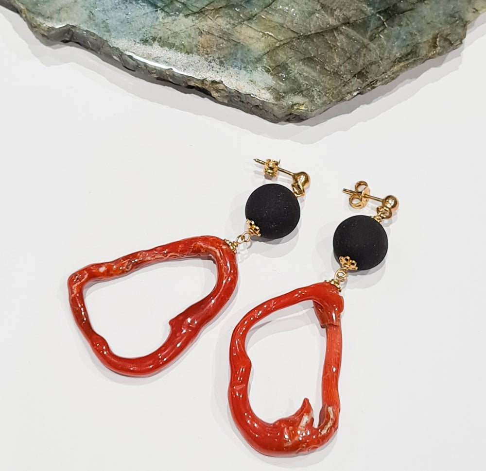 Image of Coral Loop and Black Bead Earrings on Gold Tone Studs
