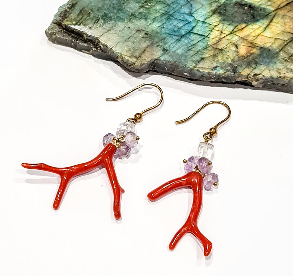 Image of Coral Branch, Amethyst and Rock Crystal Earrings