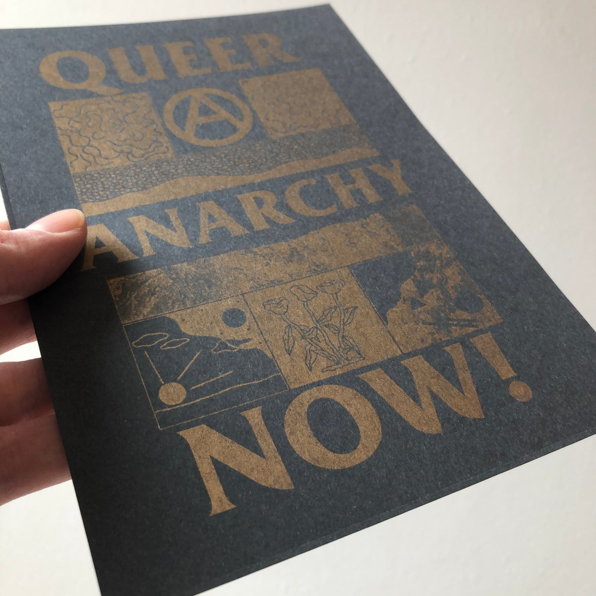 Image of Queer Anarchy Now gold A5 riso print
