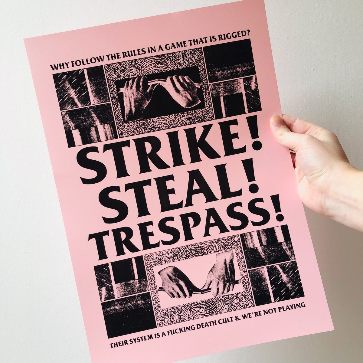 Image of Strike! Steal! Trespass! pink digital A3 print