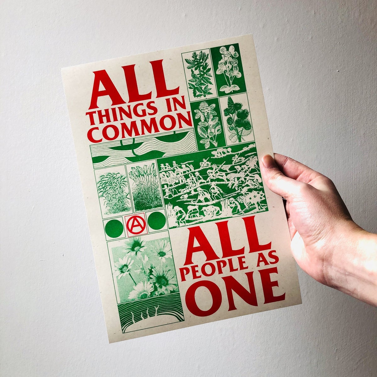 Image of All Things in Common, All People One A4 riso print