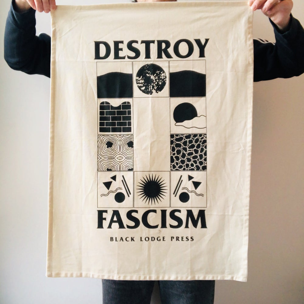 Image of DESTROY FASCISM large fabric teatowel / hanging