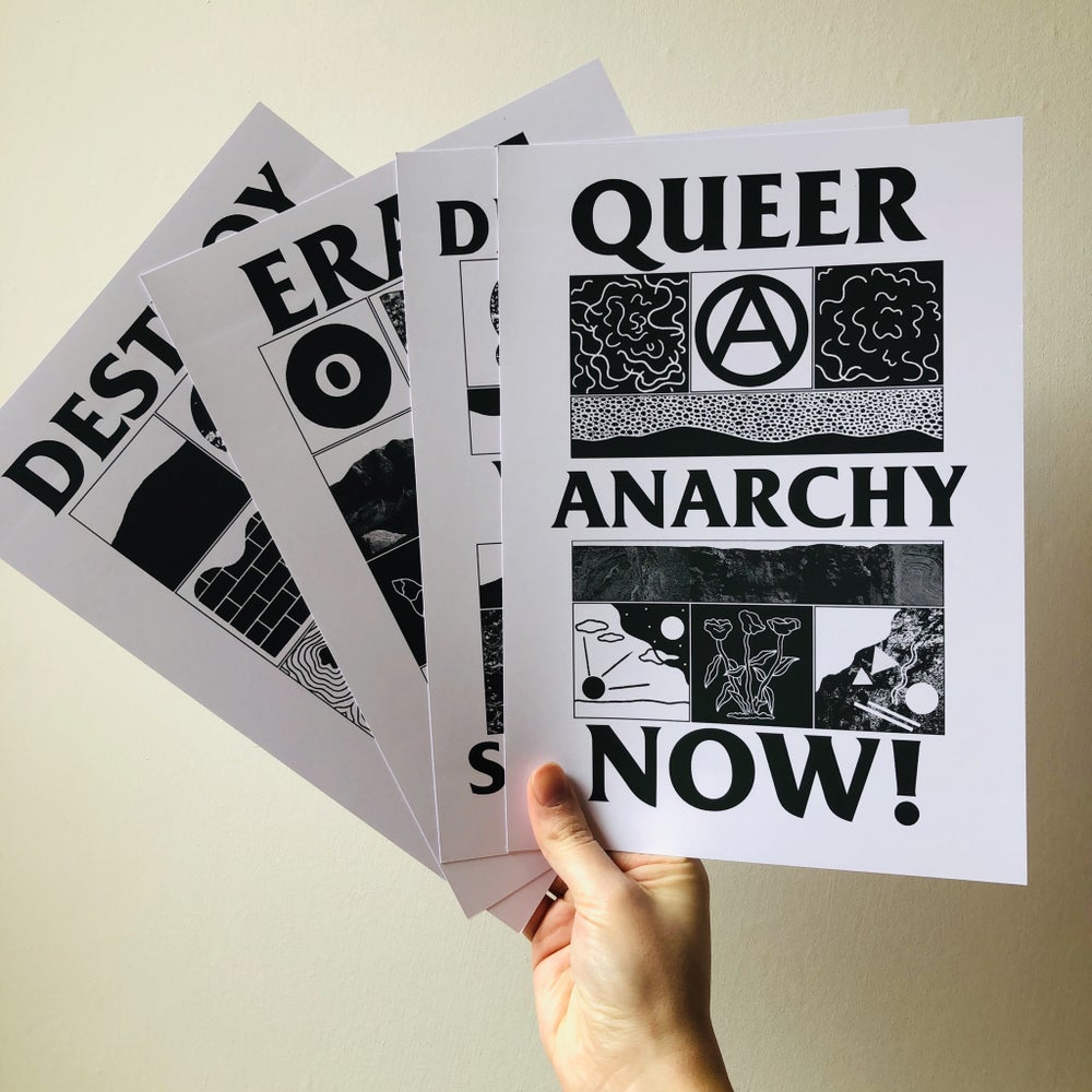 Image of 'Queer Anarchy Now' set of 4 prints
