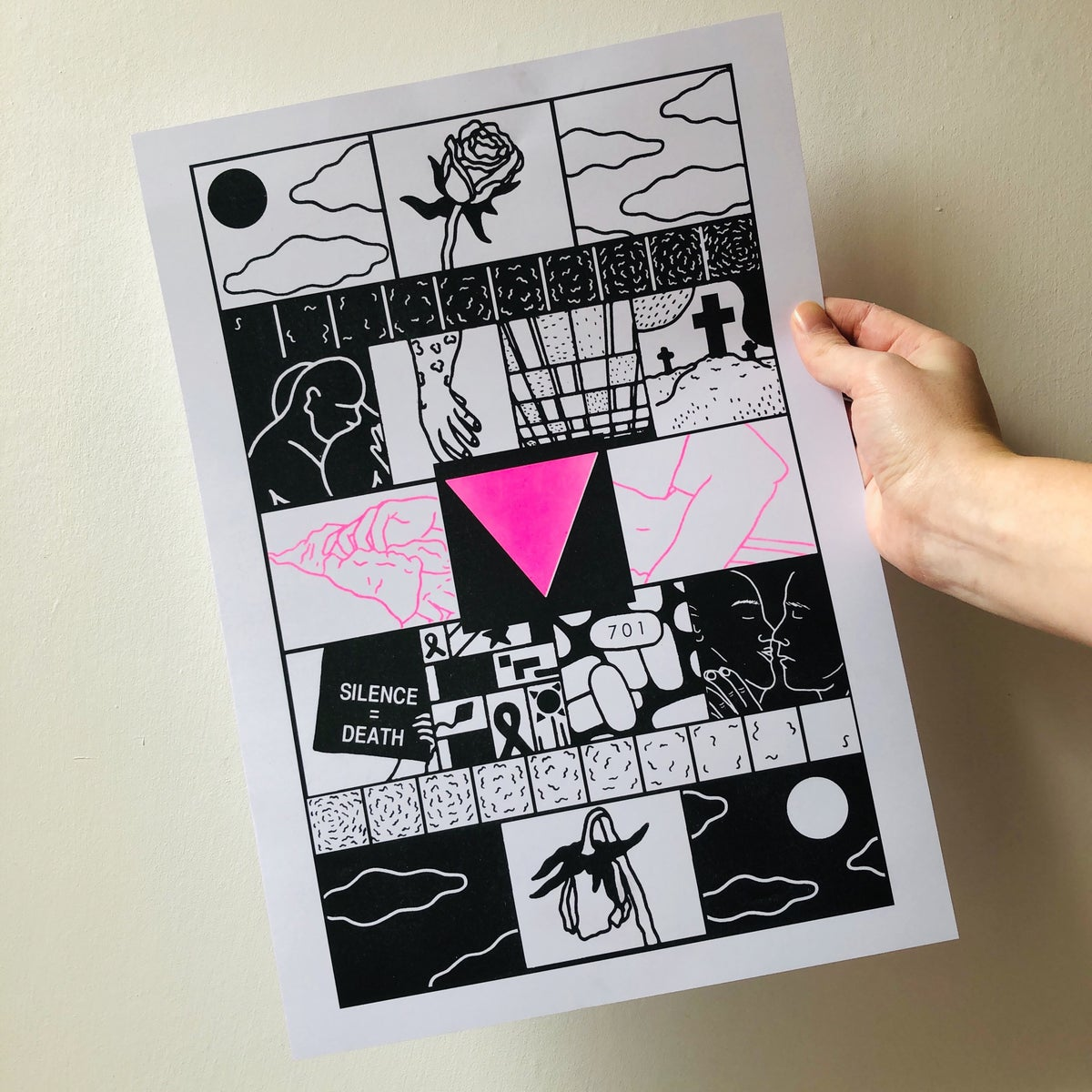 Image of HIV & AIDS History riso print