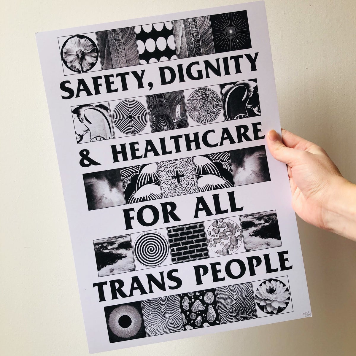 Image of Safety, Dignity & Healthcare For All Trans People A3 art print