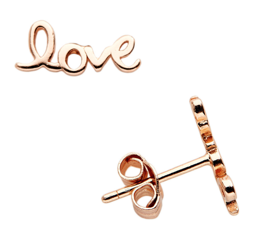 Image of 14 Kt Love Stud Earrings (Yellow Gold or Rose Gold)