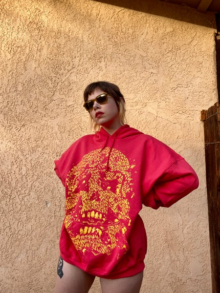 Image of Glitch Skull Red Hoodie