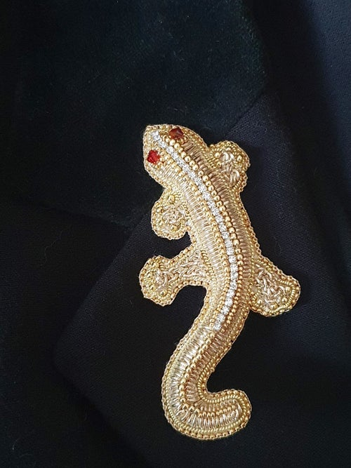 Image of Broche SALAMANDRE D'OR